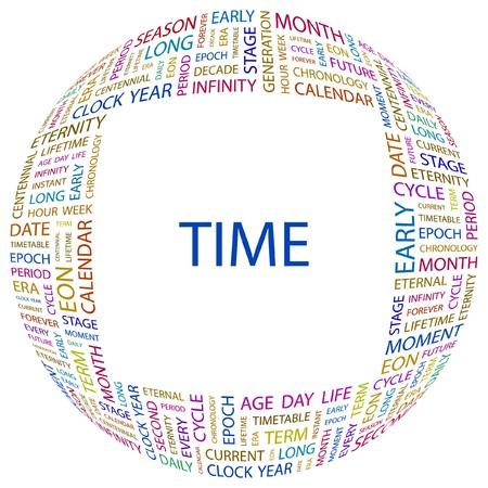 TIME. Word collage on white background. Vector illustration.    Vector