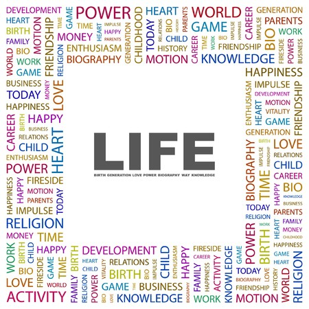 biography: LIFE. Word collage on white background. Vector illustration.