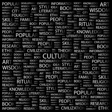 philosophy of music: CULTURE. Word collage on black background. Vector illustration.