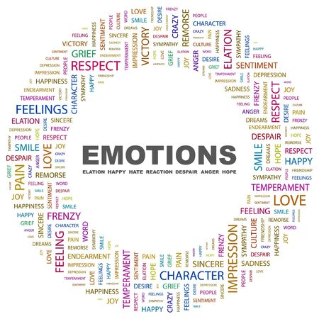 bánat: EMOTIONS. Word collage on white background. Vector illustration.