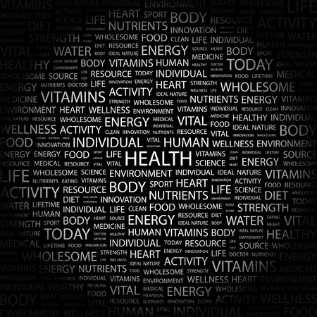 HEALTH. Word collage on black background. Vector illustration.    Vector