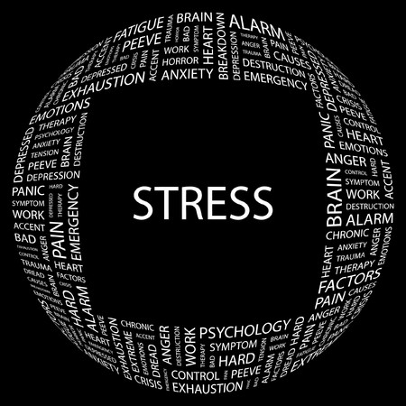 peeve: STRESS. Word collage on black background. Vector illustration.    Illustration