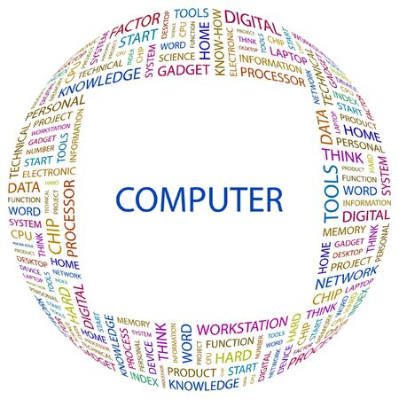office automation: COMPUTER. Word collage on white background. Vector illustration.    Illustration