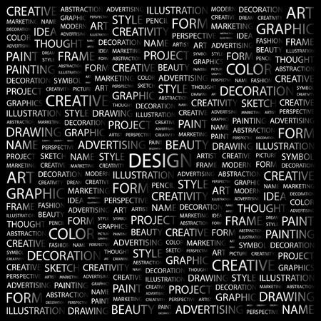 concepteur web: DESIGN. Collage de mot sur fond noir. Illustration vectorielle.