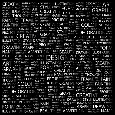 paper graphic: DESIGN. Word collage on black background. Vector illustration.    Illustration