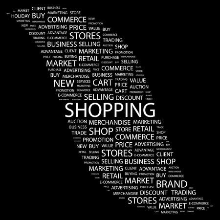SHOPPING. Word collage on black background. Vector illustration. Stock Vector - 7371487