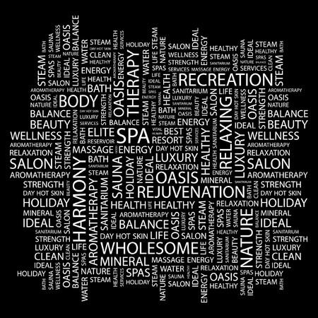 massage therapie: SPA. Word collage op een zwarte achtergrond. Vector illustratie.