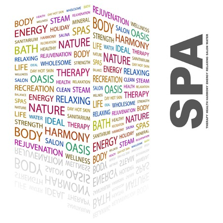 spa resort: SPA. Word collage on white background. Vector illustration.    Illustration