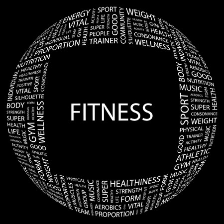 hardiness: FITNESS. Word collage on black background. Vector illustration.