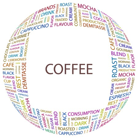 COFFEE. Word collage on white background. Vector illustration.    Vector