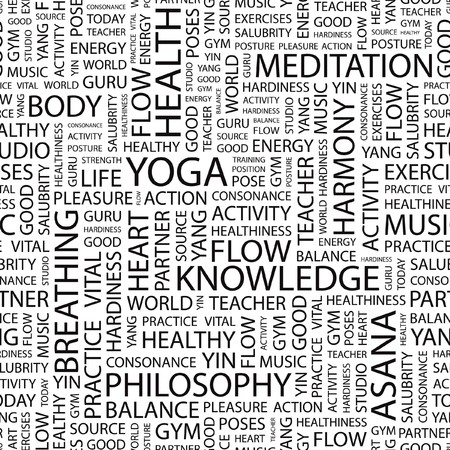 healthiness: YOGA. Patr�n de vector transparente con nubes de palabra.  Vectores