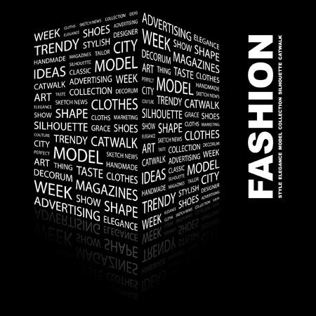 catwalk model: MODA. Parola di collage su sfondo nero. Illustrazione vettoriale.