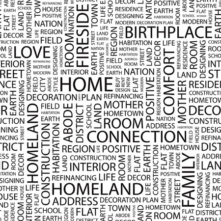 furniture idea: HOME. Seamless vector pattern with word cloud.