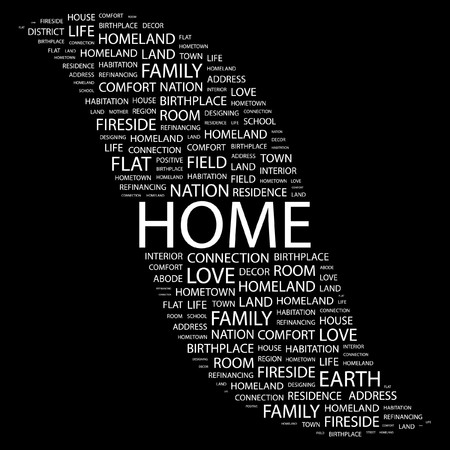 refinancing: HOME. Word collage on black background. Vector illustration.