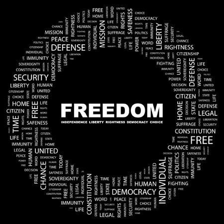mix fighting: FREEDOM. Word collage on black background. Vector illustration.    Illustration
