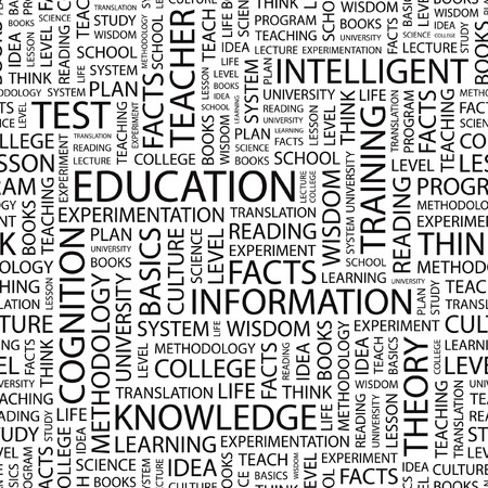 students college: EDUCATION. Seamless vector background. Wordcloud illustration.