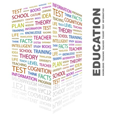 erudition: EDUCATION. Word collage on white background. Vector illustration.