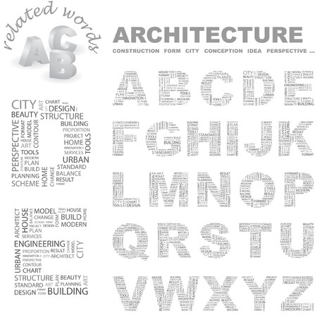 ARCHITECTURE. Vector letter collection. Wordcloud illustration.   Vector