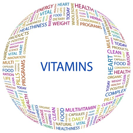 VITAMINS. Word collage on white background. Vector illustration.    Stock Vector - 7371615