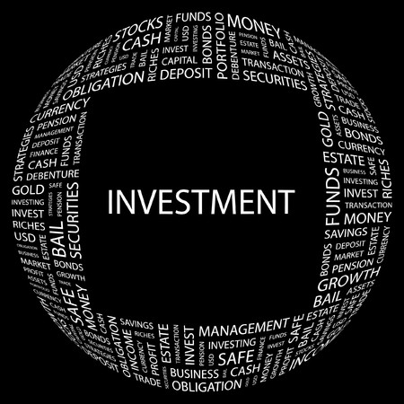 INVESTMENT. Word collage on black background. Vector illustration.    Stock Vector - 7371600