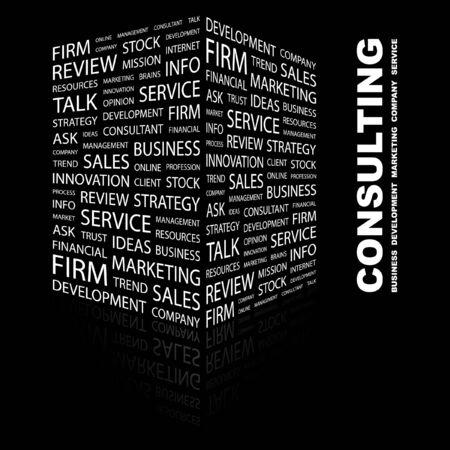 communicatie: CONSULT ING. Word collage op een zwarte achtergrond. Vector illustratie.