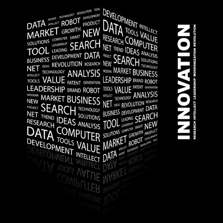INNOVATION. Word collage on black background. Vector illustration.    Illustration
