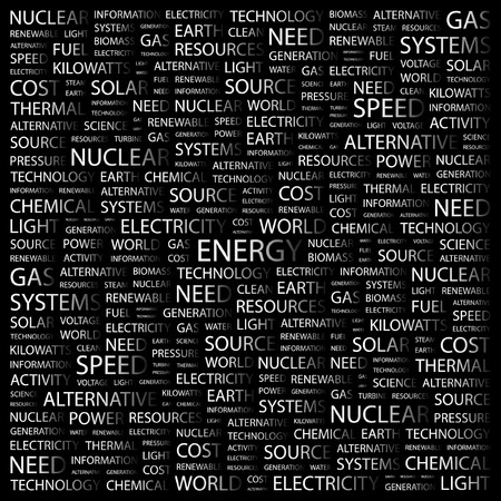 renewables: ENERGY. Word collage on black background. Vector illustration.