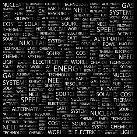 steam turbine: ENERGY. Word collage on black background. Vector illustration.