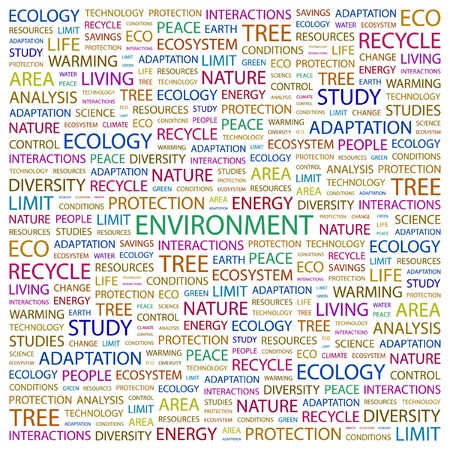 ENVIRONMENT. Word collage on white background. Vector illustration. Stock Vector - 7371712
