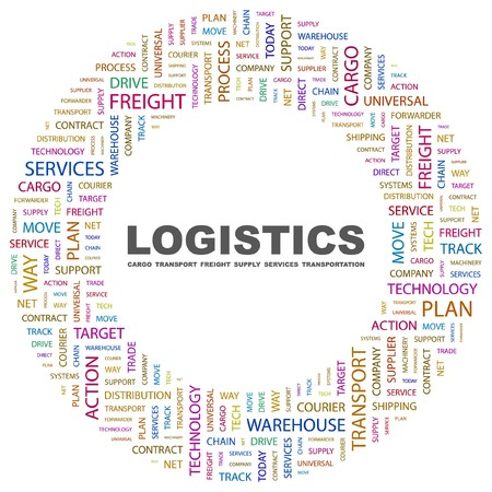 freight: LOGISTICS. Word collage on white background. Vector illustration.