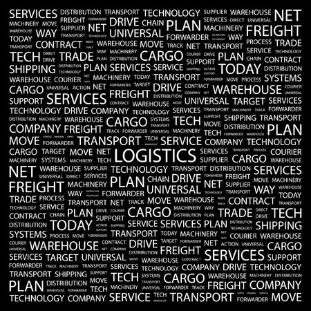 warehousing: LOGISTICS. Word collage on black background. Vector illustration.