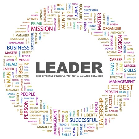 superintendent: LEADER. Word collage on white background. Vector illustration.