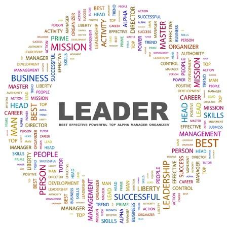 transactional: LEADER. Word collage on white background. Vector illustration.