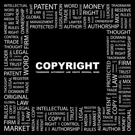 COPYRIGHT. Word collage on black background. Vector illustration. Stock Vector - 7371461