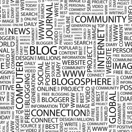 blogosphere: BLOG. Seamless vector pattern with word cloud.