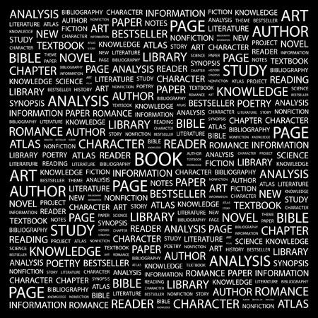 type writer: LIBRO. Parola di collage su sfondo nero. Illustrazione vettoriale.  Vettoriali