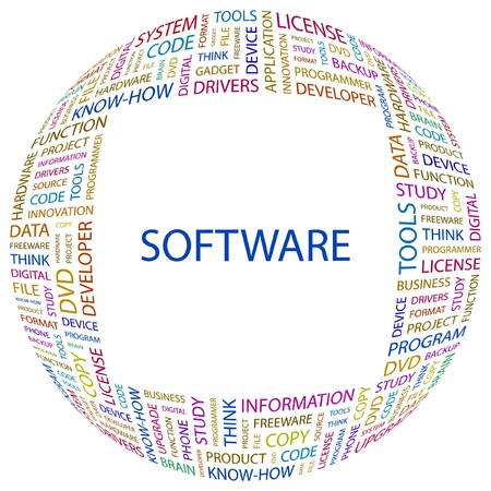 software development: SOFTWARE. Word collage on white background. Vector illustration.    Illustration