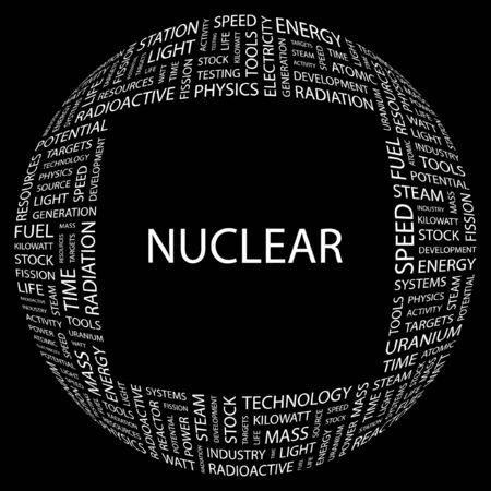 NUCLEAR. Word collage on black background. Vector illustration.    Illustration
