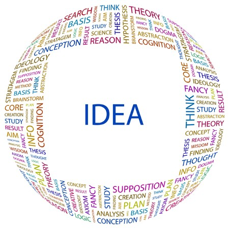 supposition: IDEA. Word collage on white background. Vector illustration.