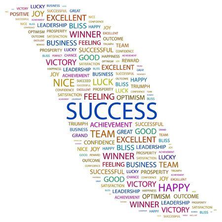 SUCCES. Word collage op witte achtergrond. Vectorillustratie.    Vector Illustratie