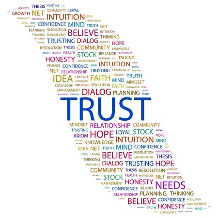 trusting: TRUST. Word collage on white background. Vector illustration.
