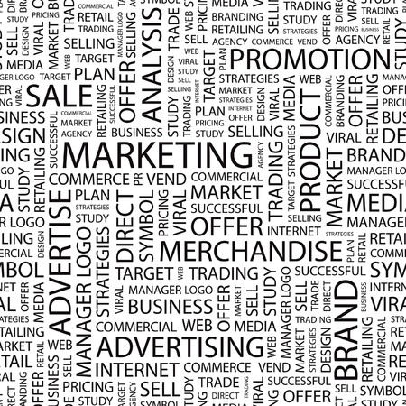 barter: MARKETING. Seamless vector pattern with word cloud.