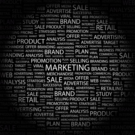 marketing mix: MARKETING. Word collage on black background. Vector illustration.