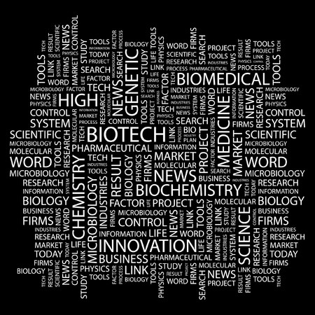 bioscience: BIOTECH. Word collage on black background. Vector illustration.    Illustration