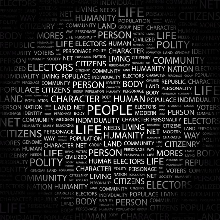 civilized: PEOPLE. Word collage on black background. Vector illustration.