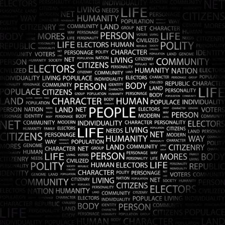 citizenry: PERSONAS. Palabra collage sobre fondo negro. Ilustraci�n vectorial.