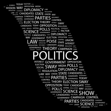 conflict theory: POLITICS. Word collage on black background. Vector illustration.