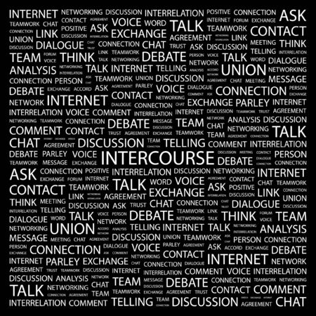 INTERCOURSE. Word collage on black background. Vector illustration. Stock Vector - 7371704