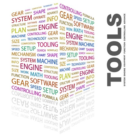 operate: TOOLS. Word collage on white background. Vector illustration.
