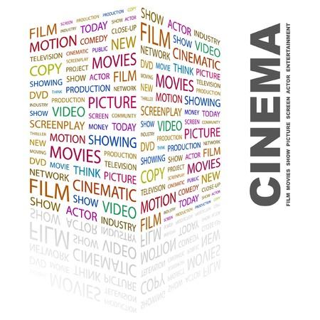 screen print: CINEMA. Parola di collage su sfondo bianco. Illustrazione vettoriale.